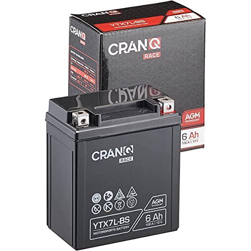 CranQ 12V 6Ah 100A AGM-Batterie YTX7L-BS Motorradbatterie rüttelfest Roller Starterbatterie leistungsstark, wartungsfrei