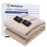 Westinghouse Electric Blanket Queen Size 84'x90' Heated Throw Soft Silky Plush Flannel Heating Blanket, 10 Heat Settings & 12 Hours Auto Off, Machine Washable, Beige
