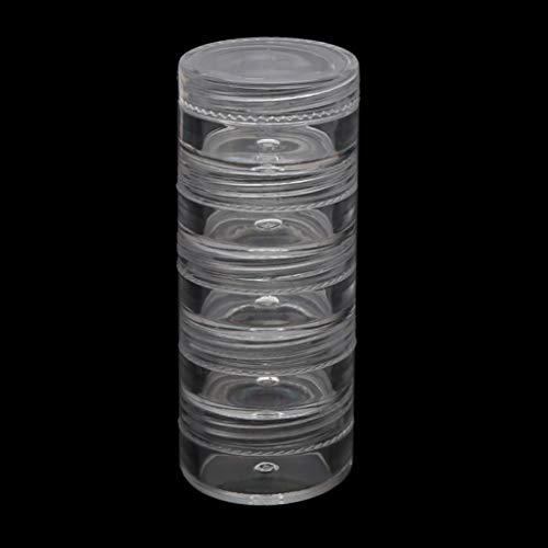 LessLIFE Soporte para almacenamiento de joyas, 5 capas apilables de cuentas pequeñas de plástico redondo transparente caja de almacenamiento de 5 cm de diámetro