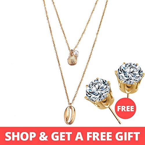 GSOLOYLa Compra 1 consigue 1 Regalo Collar Multi Layer Astilla de Oro for Las Mujeres Shell Gargantilla Collares y Colgantes 2019 de la joyería Femenina Océano Moda