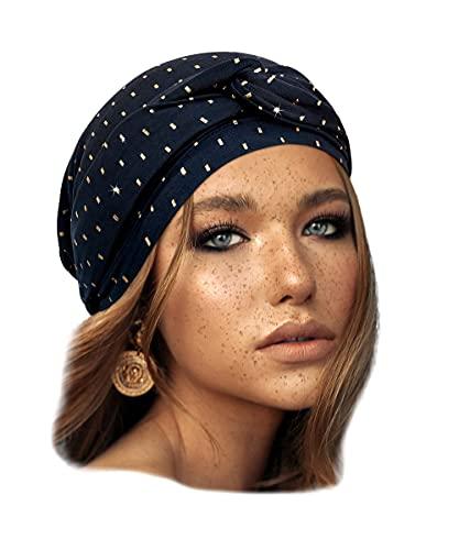 Navy Blue Pre Tied Headscarf Headcover for Women Cotton Turban Wrap Head Wear (Navy blue gold bar long)