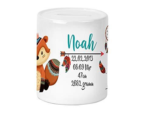 Boho Fuchs Kinder-Spardose für Mädchen & Junge mit Namen und Geburtsdaten personalisiert zur Einschulung Taufe Geburtstag Geburt Sparschwein Kinderspardose