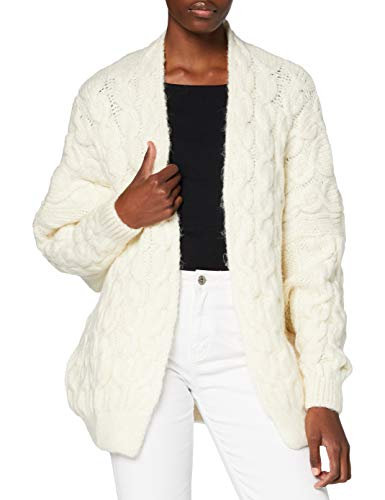 Superdry Womens Grace Oversized Cable Cardigan Sweater, Cream, L