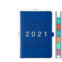 2021プランブック2021ウィークリープランブック、ペーパーレザーソフトカバー、A5 14.5 x 21.0 cm、ハードカバー弾性クロージャー