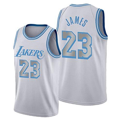 James #23 Laker - Camiseta de baloncesto para hombre, sin mangas, para competición, malla transpirable, para entrenamiento al aire libre, uniforme de baloncesto S-X, color blanco y M