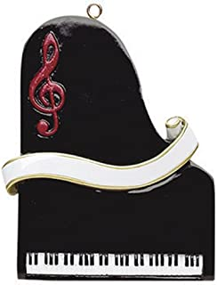 Personalized Piano Christmas Tree Ornament 2019 - Black Keyboard Music Red Treble Clef Elegant Ribbon Pianist Performs Recital Orchestra Hobby Profession Teacher Year - Free Customization