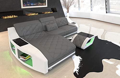 Sofa Dreams Leder Ecksofa Swing Couch mit Ottomane und LED Beleuchtung