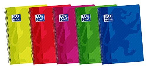 Oxford 400042330 - Cuaderno espiral, tapa plástico, Fº/215 x 310 mm, paquete de 5 [colores surtidos]