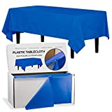 Exquisite 54 Inch X 300 Feet Dark Blue Plastic Table Cover Roll in A Cut - to - Size Box with Convenient Slide Cutter. Cuts Up to 12 Rectangle 8 Feet Plastic Disposable Tablecloths
