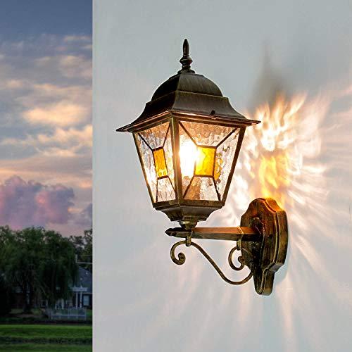 *Rustikale Wandleuchte in Gold antik inkl. 1x 12W E27 LED Wandlampe aus Aluminium Glas für Garten Terrasse Garten Terrasse Lampe Leuchten Beleuchtung außen*
