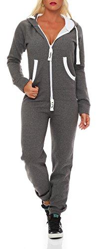 Damen Jumpsuit Jogger Jogging Anzug Trainingsanzug Einteiler Overall 9t5 dunkelgrau M
