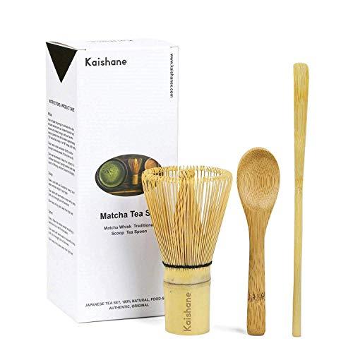 Olywee - Juego de 3 batidores Matcha de bambu, incluye 100 puntas Matcha batidor (Chasen), cuchara tradicional (chashaku), cuchara de te