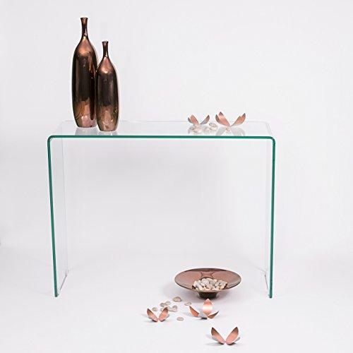 Homely - Mesa Consola Kris de Cristal Curvado y Templado 110x36 h-76 cm.