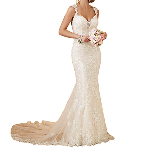 RYANTH Women's Mermaid Wedding Dresses for Bride Sexy Lace Open Back Bridal Gowns