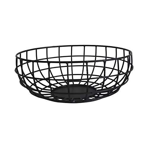 "NIRMAN Rustic Fruit Bowl, Basket Holder for Kitchen Counters,Table Centerpiece, Farmhouse Decor, Party, Holiday Decoration, Vegetables Serving Bowls Iron Metal Wire, Round Shape Bowl Basket (10"" X 4"")"
