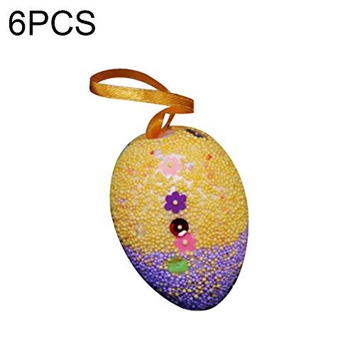 P12cheng Eier aus Schaumstoff bemalt, 3/6 Stück, Happy Oaster bemalte Eier aus Schaumstoff, zum Basteln, zum Aufhängen, Dekoration, 6 Stück Kinder-Besteck 6pcs