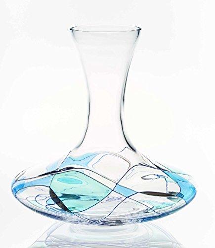 ANTONI BARCELONA decantador de vino soplado y pintado a mano Cristal Europeo Blue Line