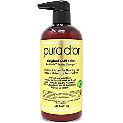 powerful PURA D'OR Original Gold Label Anti-Thinning Biotin Shampoo (16 oz), Argan Oil, Nettle Extract, …
