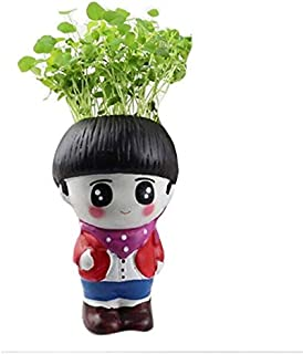 Head Planter - Artificial Creative Gifts Fleshy Small Flower Pot DIY Potted Plant Ceramic Crafts Grass Head Doll Office Decoration Planter