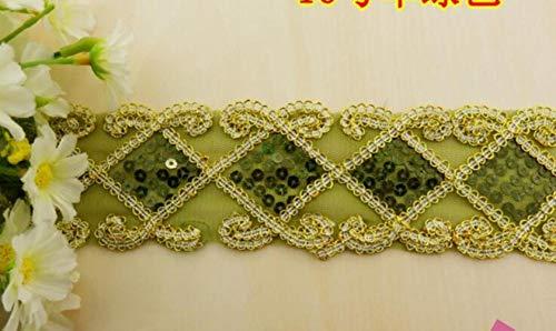 Huien gouden lovertjes kanten lint band naaien versieringen pailletten geborduurde kant applicaties riem vierkante bloemen 2 `` breed, groen