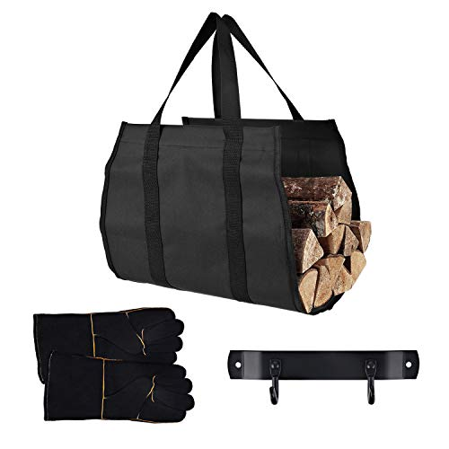 Mlian Large Canvas Log Tote Bag Carrier Indoor Fireplace Firewood Totes Log Holders Woodpile Rack Fire Wood Carriers Carrying for Outdoor Tubular Birchwood Stand by Hearth Stove Tools Set Basket
