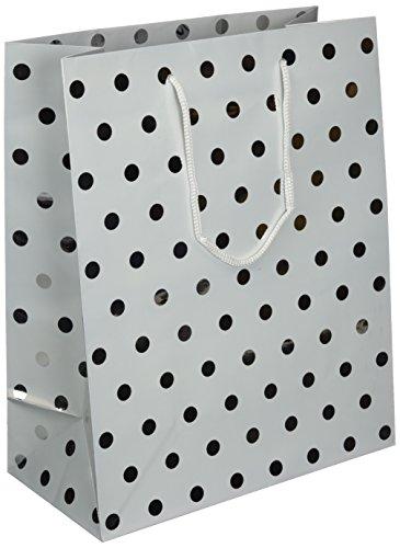 Les Couleurs de l'Emballage 20 geschenktasjes met koord en glanslaaminering van metaalpapier, 32 x 26 x 13 cm, motief metalen punten op wit