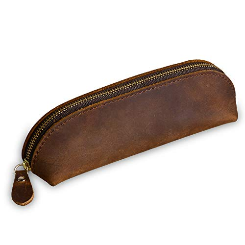 Vintage Leather Pencil Pouch Pen Case Bag with Zipper Pen Holder Handmade Stationery Bag Case by Jack&Chris,Brown