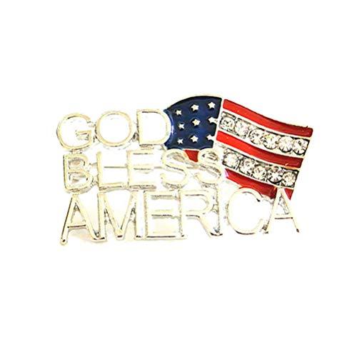 ABOOFAN Moda Aleación Clips América Bandera Letra Broche Mujeres Broche Decorativo Broche para Vestir Ropa CollarGraduación Fiesta Favores