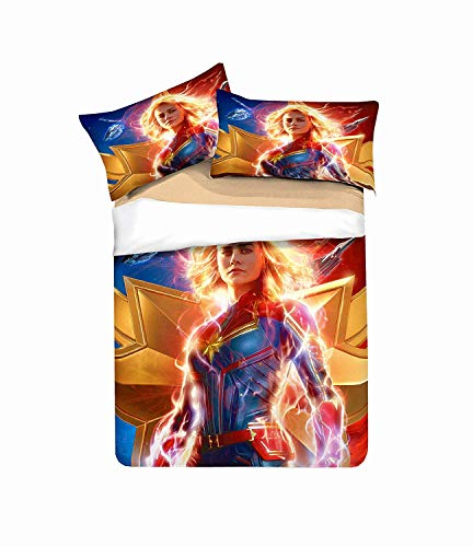 nonbrand Captain Marvel Bedding Duvet Cover Set Duvet Cover plus 2 Pillow Covers Soft Quality Wrinkle Fade and Stain Resistant(Single)