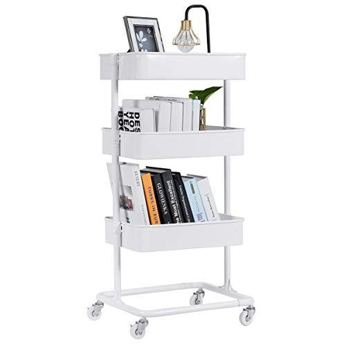 Giantex 3-Tier Rolling Utility Cart Mobile Storage Organizer Multifunctional Home Office Storage Trolley Serving Cart w/Metal Mesh Shelves Lockable Wheels, White