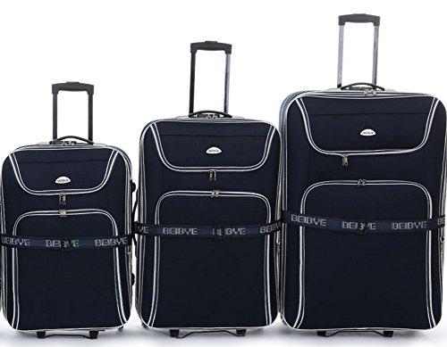 TOP-aanbieding - trolley kofferset - 3 trolleys - XXL volume - 76/66/56cm, plooi - donkerblauw