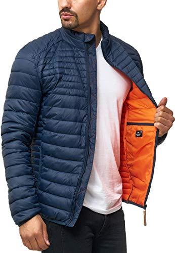 Indicode Herren Islington Steppjacke in Daunenjacken-Optik mit Stehkragen | gefütterte sportliche Übergangsjacke Moderne leichte Winterjacke modische Jacke für Männer Navy XL