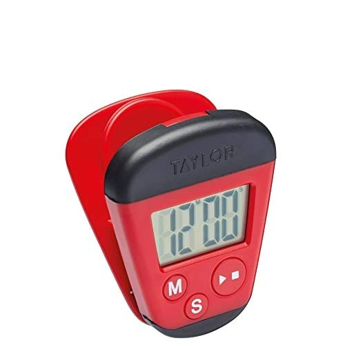 Taylor TYPTIM100CLIP Pro Digital Kitchen Timer with Memo Clip and Magnetic Back, Plastic, Rot/Schwarz