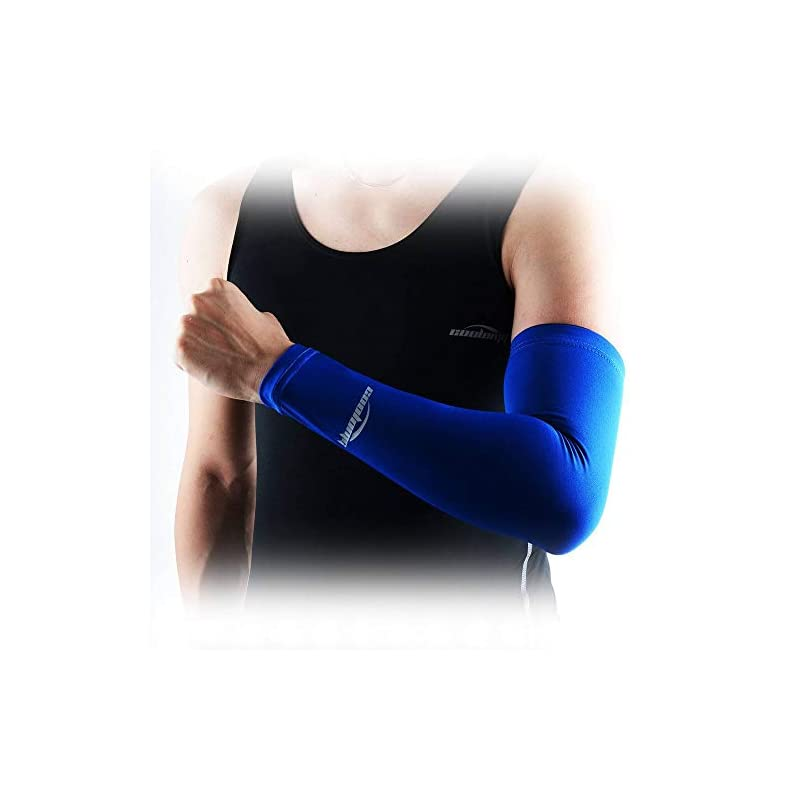 COOLOMG (1Pair Compression Arm Sleeves UV Protection Cover Elbow Arm Warmers for Kids Adults 30+ Colors/Patterns