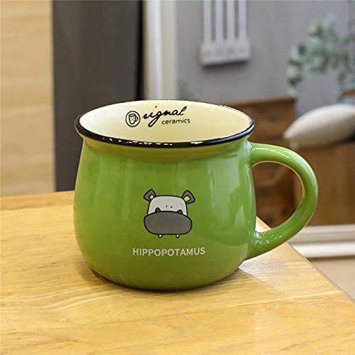 LongBin Personalidad Creativa con Cuchara Cubierta Taza De Café De Cerámica para El Hogar Pareja Desayuno Leche Mack-Hippo