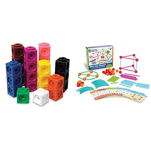 """Learning Resources Mathlink Cubes, Educational Counting Toy, Set of 1000 Cubes, Ages 4+ & Dive Into Shapes! A""""Sea"""" & Build Geometry Set, 129 Piece, Ages 6+"""