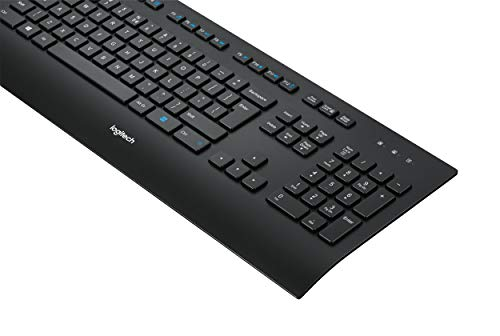 Logitech K280e Teclado Inalámbrico para Windows/Linux/Chrome, USB Plug-and-Play, Tamaño Normal, Resistente a Líquido, PC/Portátil, Disposición AZERTY Francés, Color Negro
