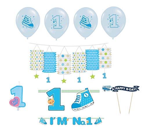 Feste Feiern zum 1. Geburtstag Junge | 8 Teile All In One Set Luftballon Girlande Laterne Banner Kuchen Kerze Blau Hellblau Bunt Party Deko Happy Birthday