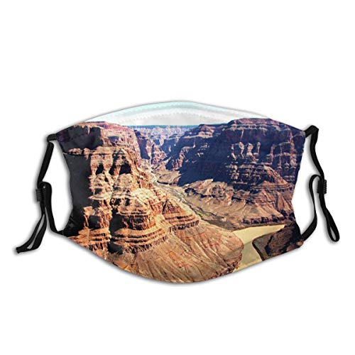 ZOMOY Face Cover Sky USA Horizontal Mountain Grand Canyon Rock Object Colorado River Balaclava Unisex Reusable Windproof Mouth Bandanas Outdoor Camping Motorcycle Running Neck Gaiter with 2 Filters