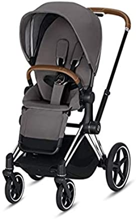 Cybex 2019 Priam 3 Complete Stroller in Manhattan Grey with Chrome/Brown Frame