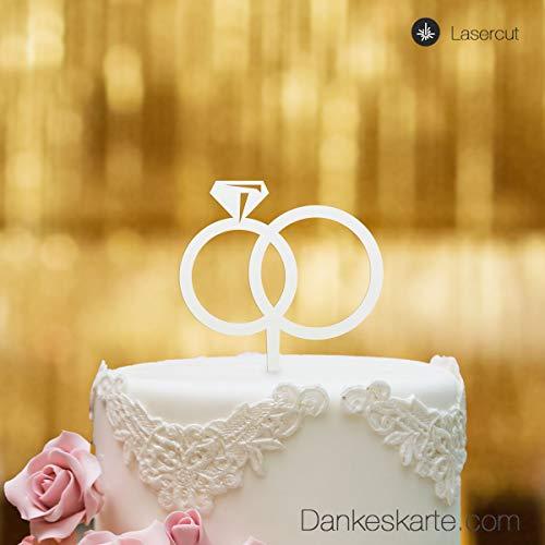 Dankeskarte.com Cake Topper Ringe - für die Hochzeitstorte - Acrylglas Weiss - XL - Tortenaufsatz, Kuchen, Deko, Tortenstecker, Tortenfigur, Hochzeit, Kuchanaufsatz, Kuchendeko, Mr Mrs