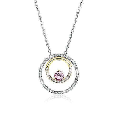 Jösva Dameshalsketting 925 sterling zilver dubbele ronde cirkel gouden hanger roze kristal met 45 cm zilveren ketting verjaardag kerstverjaardag geschenken voor meisjes dames geschikt voor partij