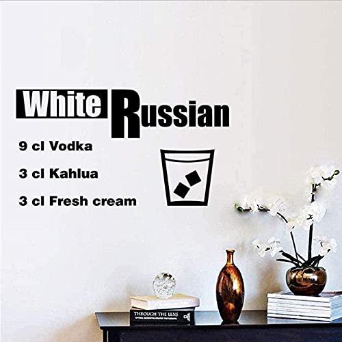 Elegante etiqueta engomada del arte del cóctel bielorruso Restaurante Cocina Bar Etiqueta de la pared de vinilo desmontable DIY Decoración para el hogar Papel tapiz impermeable 60X33Cm