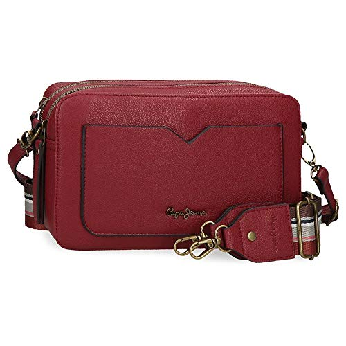 Pepe Jeans India, Tracolla Due Scomparti Donna, Bordeaux, 25x15x6,5 cms
