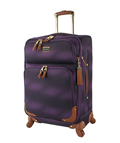 Steve Madden Designer 20 Inch Carry On Luggage Collection - Lightweight Softside Expandable Suitcase for Men & Women - Durable Bag with 4-Rolling Spinner Wheels (Shadow Purple)
