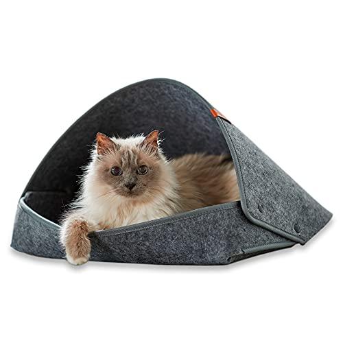 PiuPet® Letto per gatti incl. cuscino - Cestino per gatti di alta qualità in grigio (45 x 43 x 3 cm (con tetto), grigio)