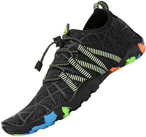 Tmaza Zapatos de Agua Hombre Mujer Secado Rápido Escarpines Piscina Respirable Antideslizante Zapatos de Surf para Buceo,Vela,Natacion Negro Noche 41 EU