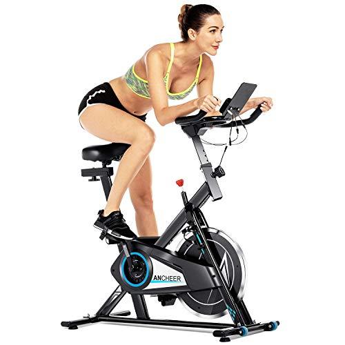 ANCHEER F-Bike/Fahrradtrainer mit APP-Simulationsspiel, Geräuschloses Stationäres Heimtrainer mit Trainingscomputer, Sport Fitnessfahrrad mit Handpulssensoren für Zuhause Büro Training