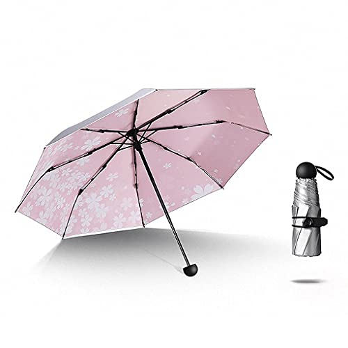 BaiJaC Paraguas automático, Paraguas de la Flor de Cerezo, 8 Costillas, UPF  50 +, Ultra-Light Plegable Lady'S 5-Fold, 269g, 18 cm, Color clásico, Regalo de Mujeres, Parasol portátil