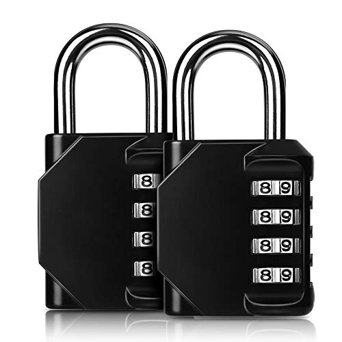 [2 Stück] 4-Stelliges Schloss Zahlenschloss, Kombinationsschloss, Vorhängeschloss, Wetterfestes Metall & Plated Steel Combination Lock für Schule, Gym & Sports Locker, Hasp Cabinet & Storage.